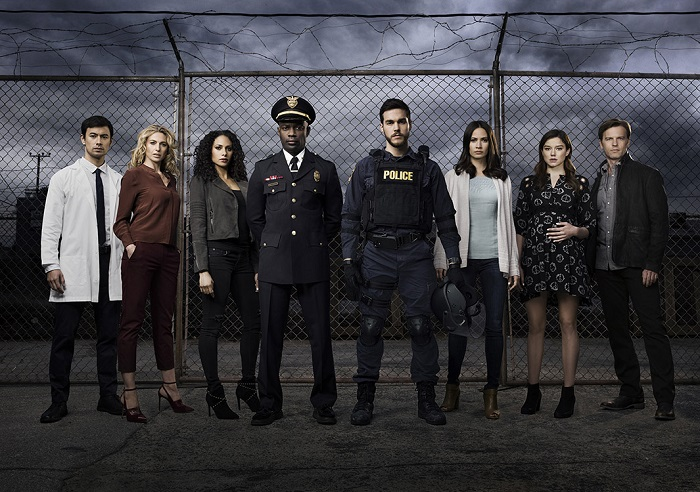 Containment -- Image Number: CON1_CastShot_1743.jpg -- Pictured (L-R): George Young as Dr. Victor Cannerts, Claudia Black as Dr. Sabine Lommers, Christina Moses as Jana, David Gyasi as Major Lex Carnahan, Chris Wood as Jake, Kristen Gutoskie as Katie, Hanna Mangan Lawrence as Teresa and Trevor St. John as Leo -- Photo: Justin Stephens/The CW -- © 2016 The CW Network, LLC. All rights reserved.